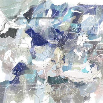 Abstract Map Art Blue Green